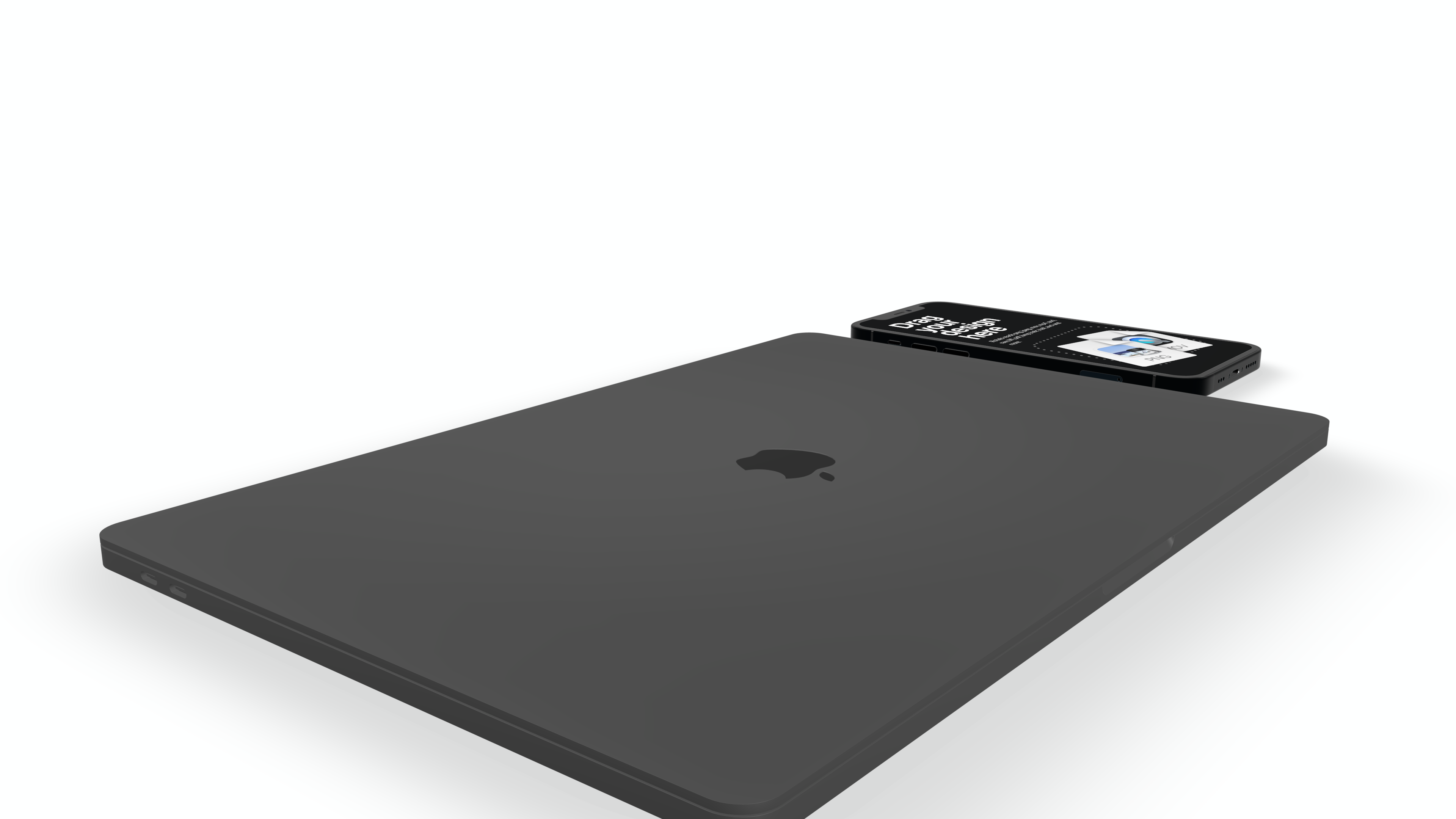 Closed laptop mockup with a phone next to it