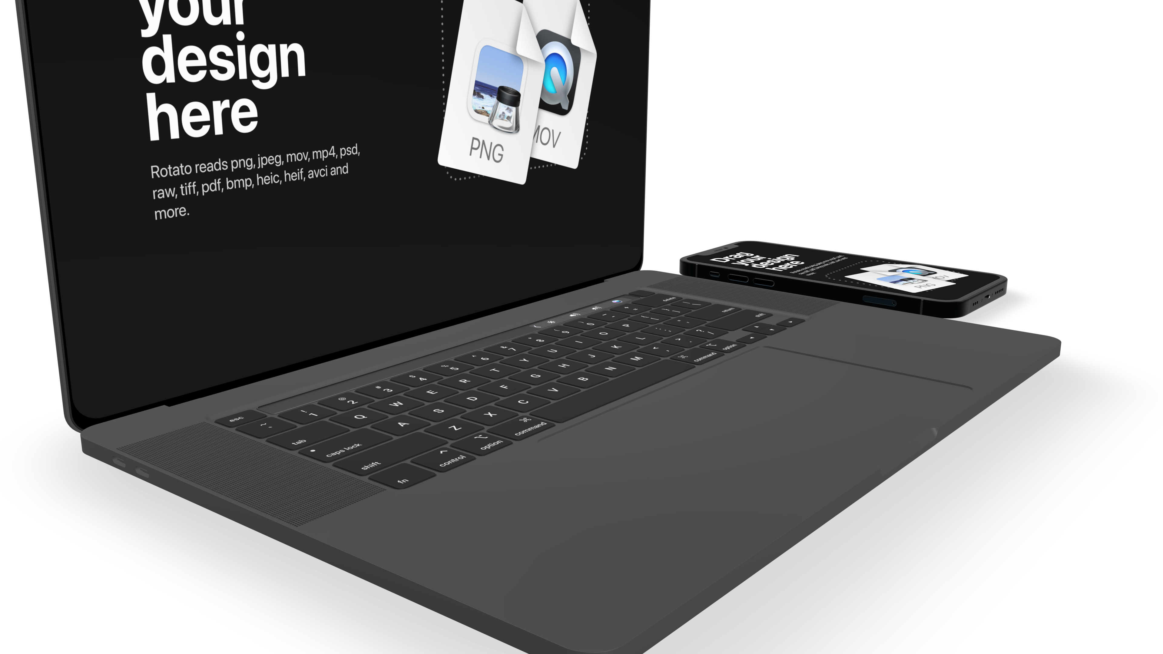 Open laptop mockup with a phone next to it