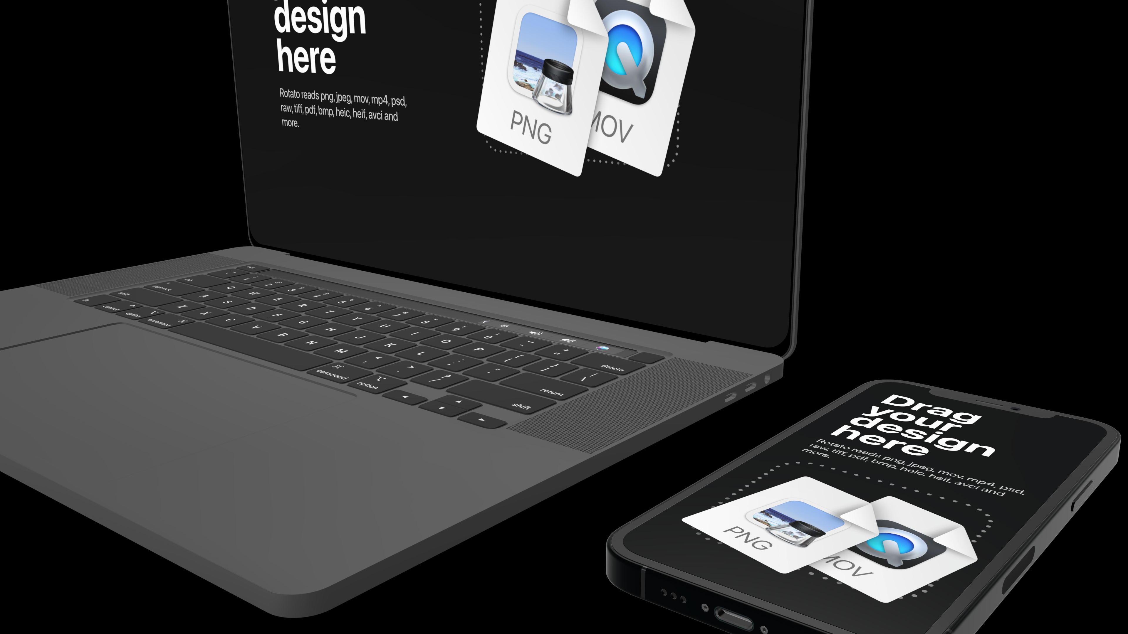 Phone and laptop mockup on a black background