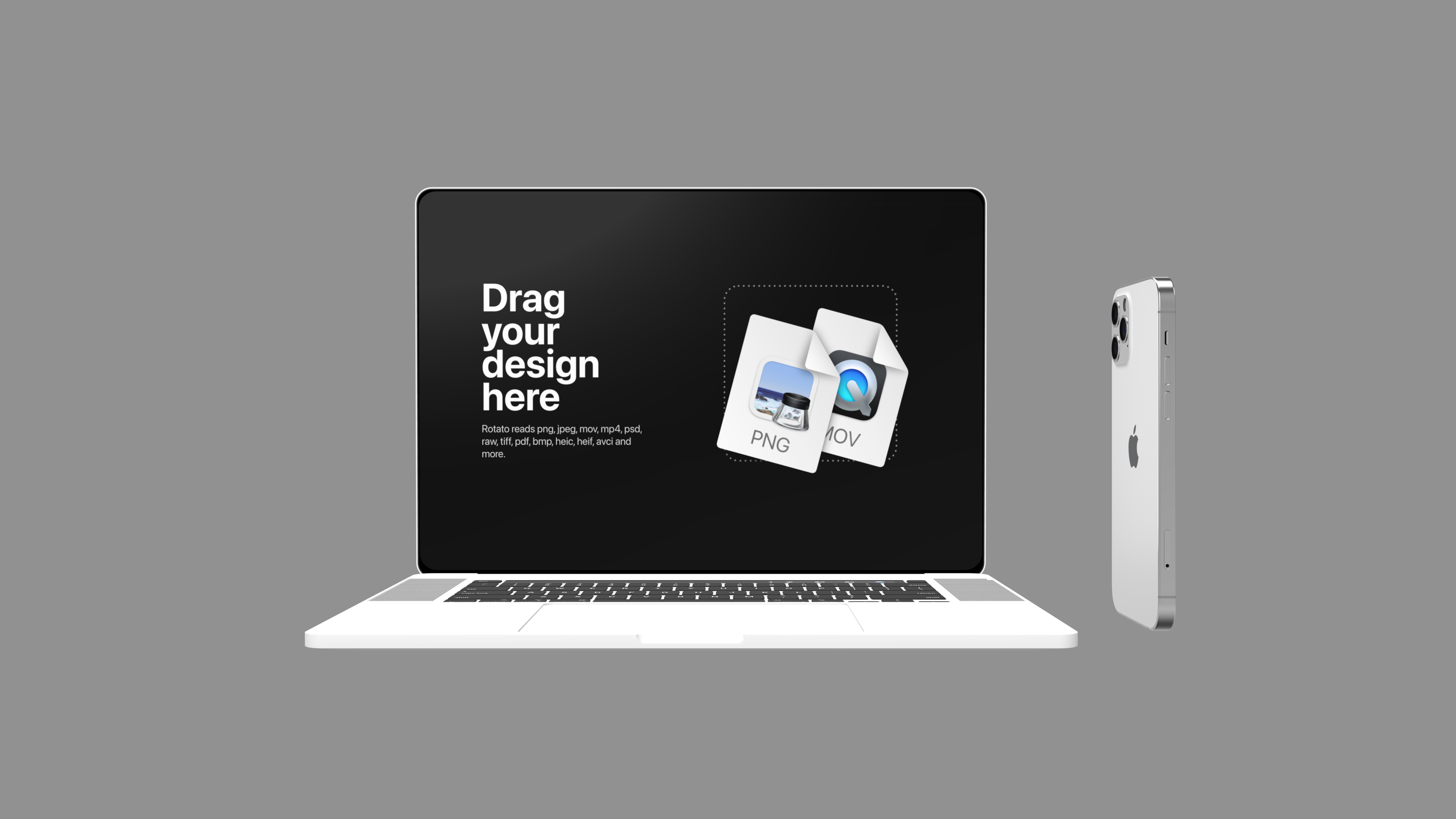 Light white laptop mockup with a phone