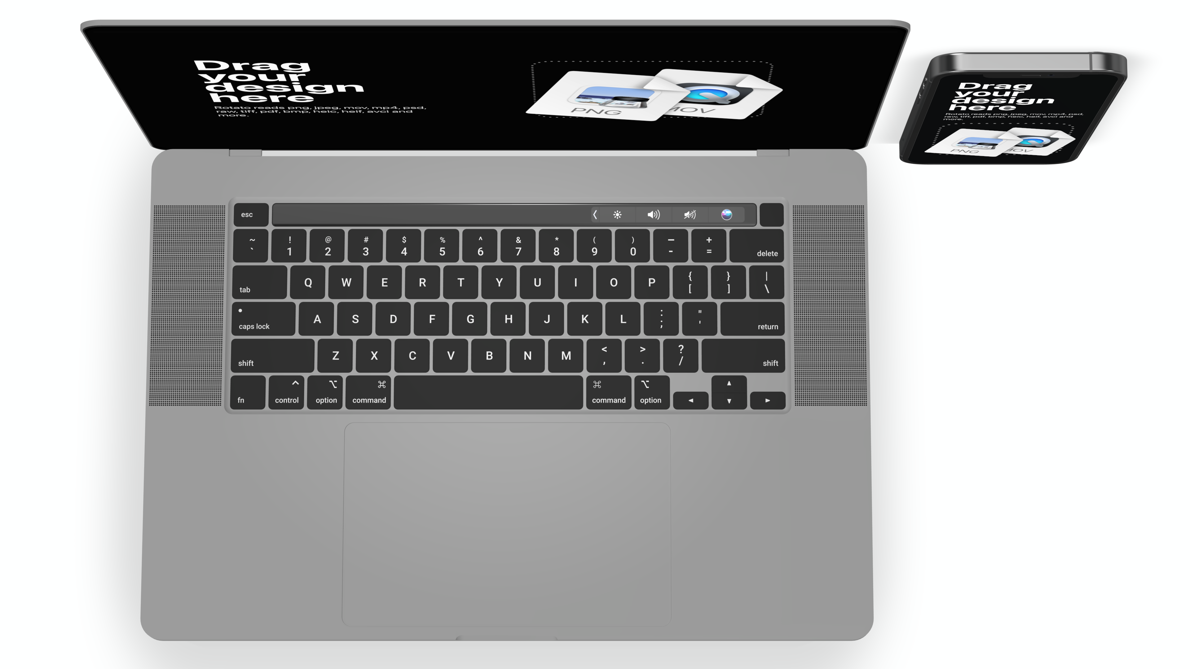 Top view of a standard Macbook 2020 and an iPhone