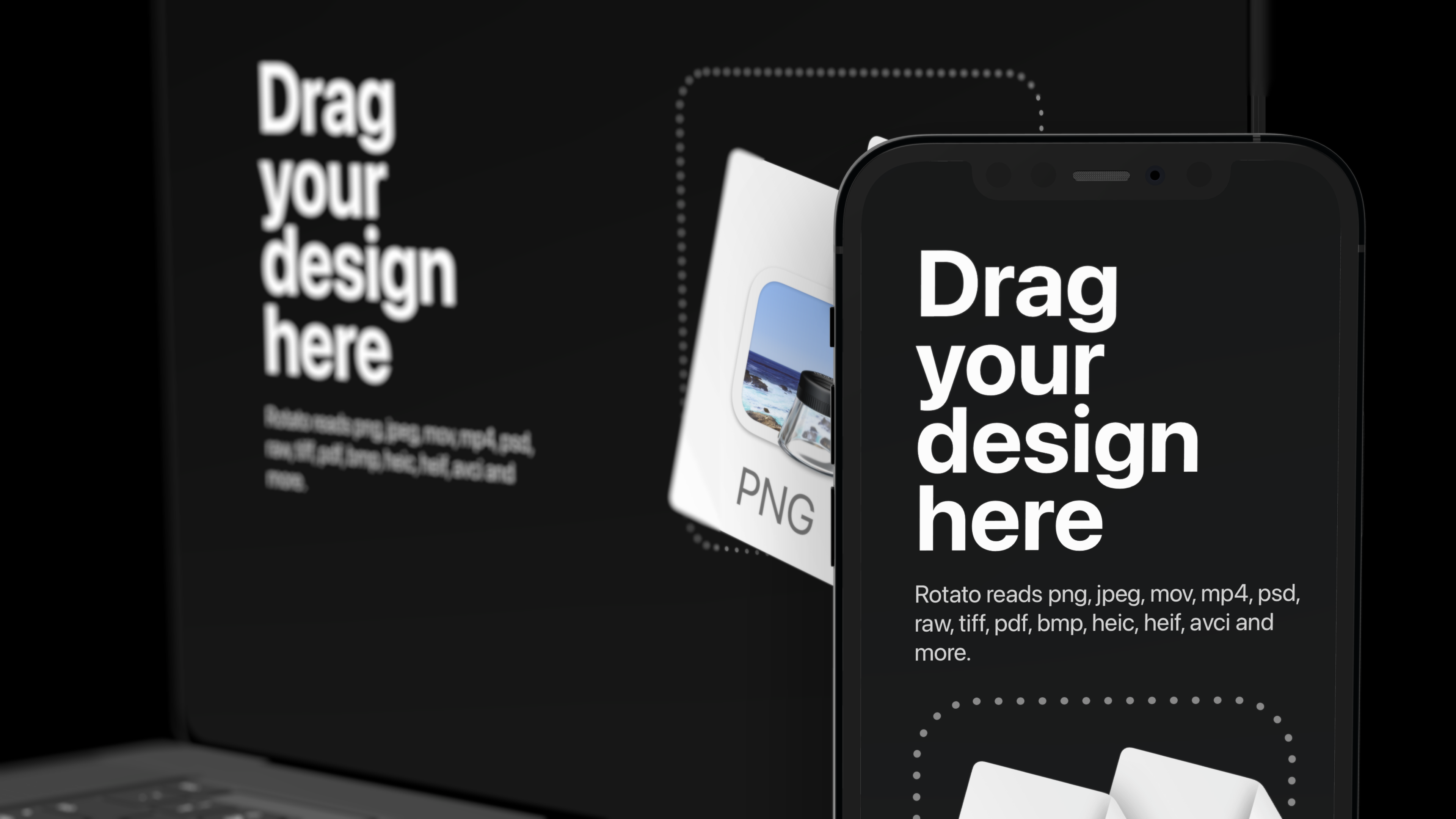 Mockup with an iPhone in front of a Macbook on a black background