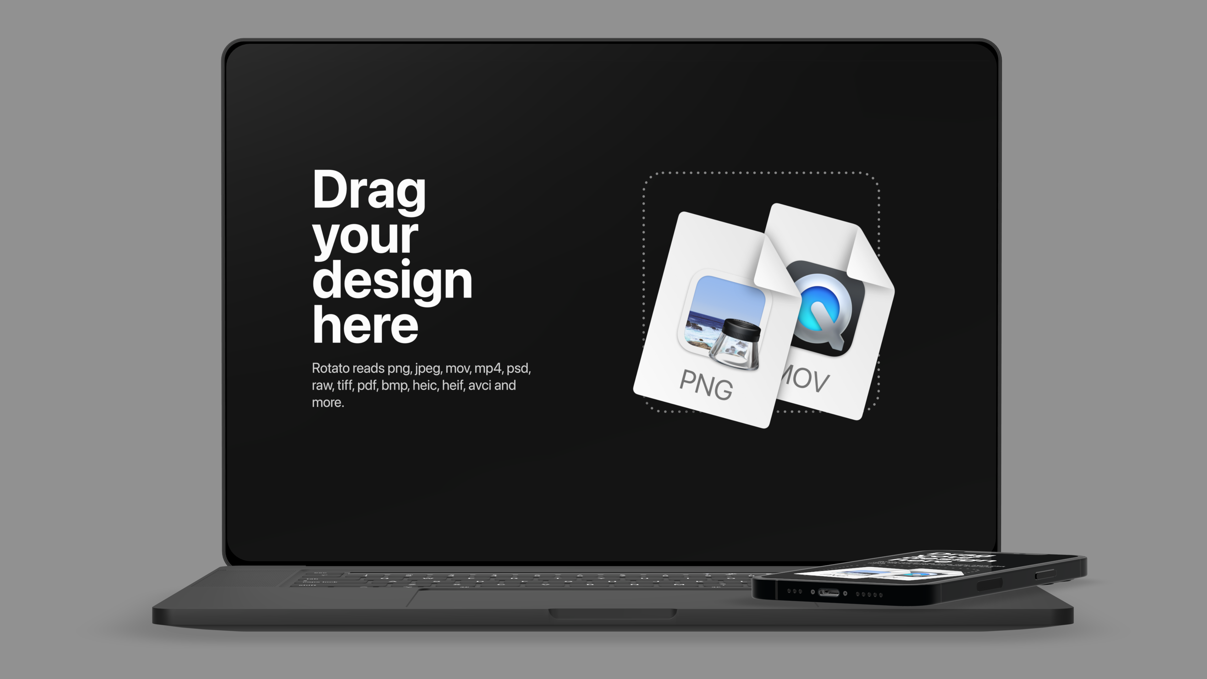 Front view of a macbook and iPhone mockup