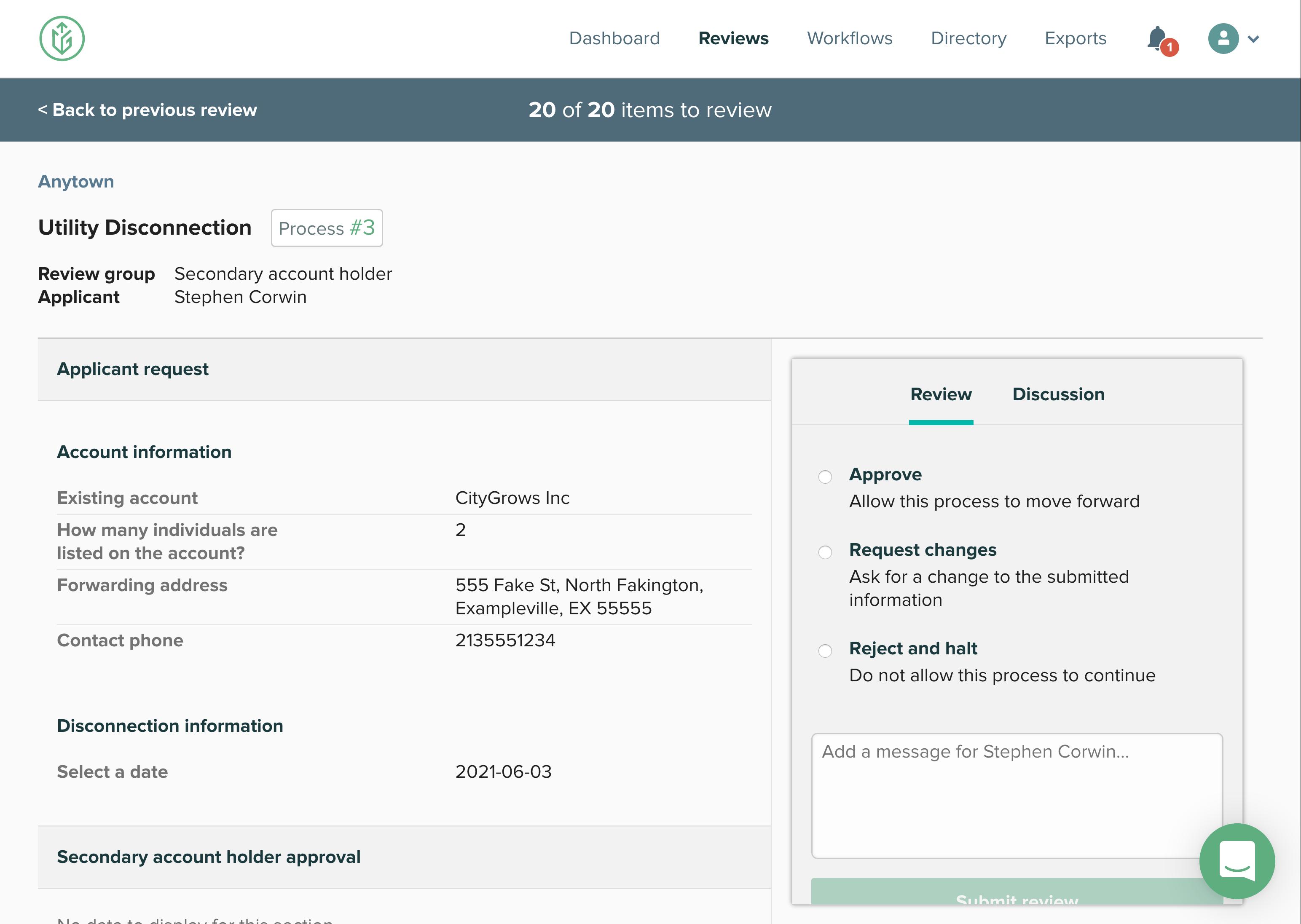 Screenshot of CityGrows review interface