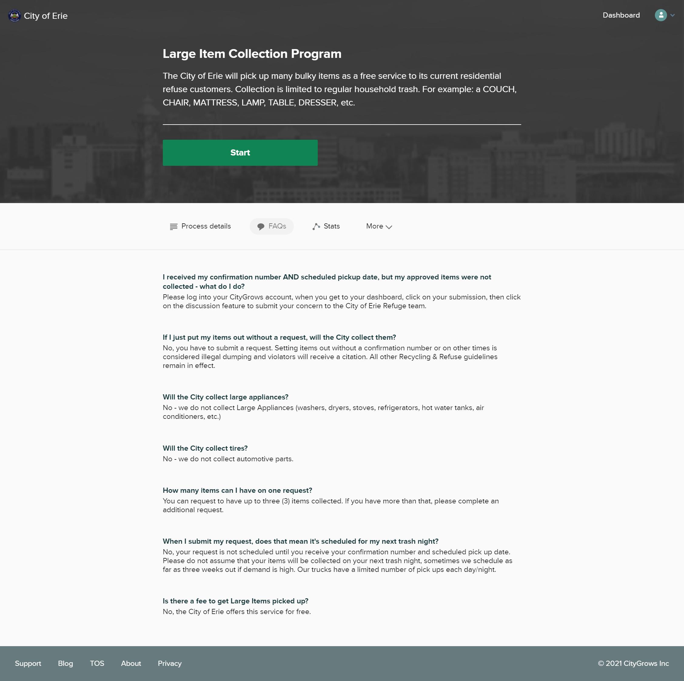 Screenshot of CityGrows template editor