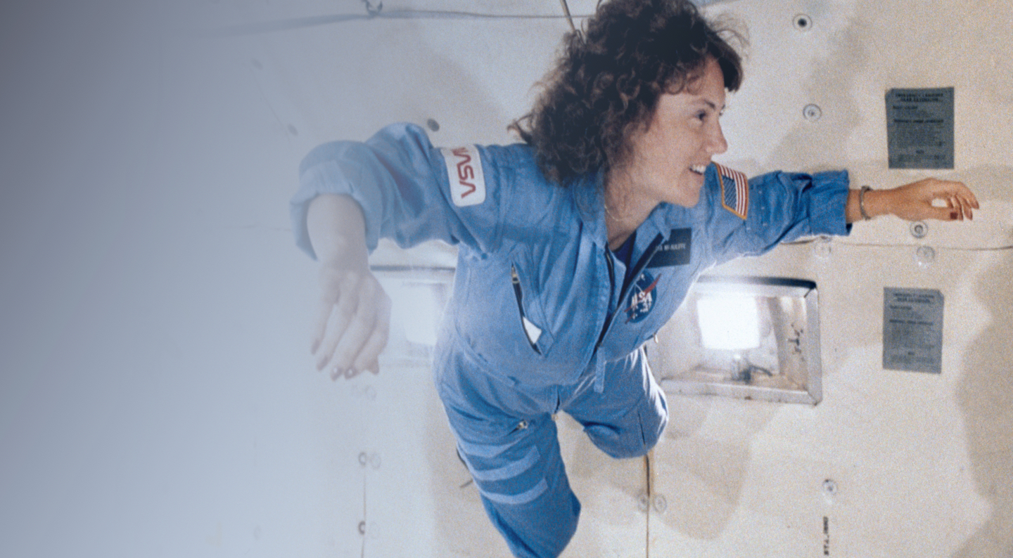 Women from NASA floating inside a space ship.