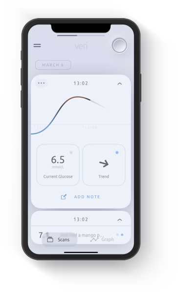 Veri mobile app showing blood sugar level and trend.
