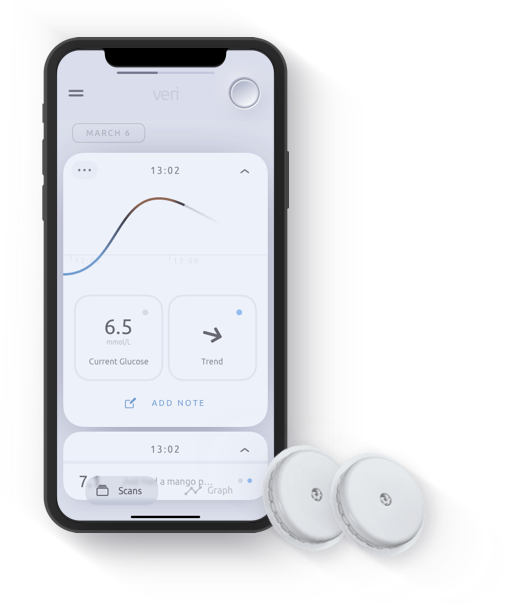 Veri mobile app and two blood sugar sensors.