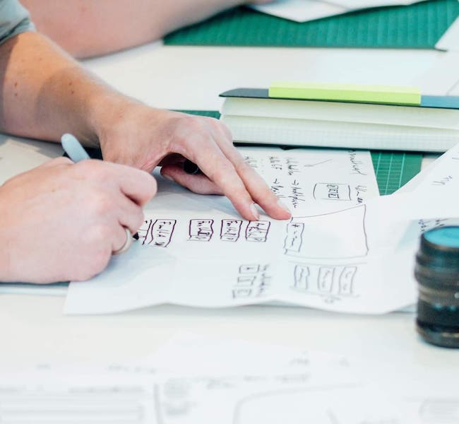 Sketching a user interface on paper