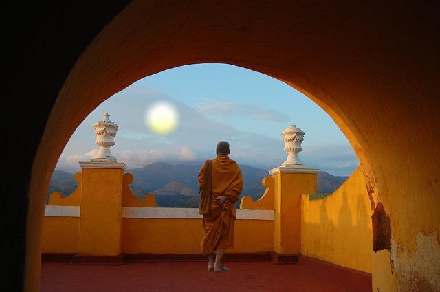 Tibetan Monk monastery retreat.