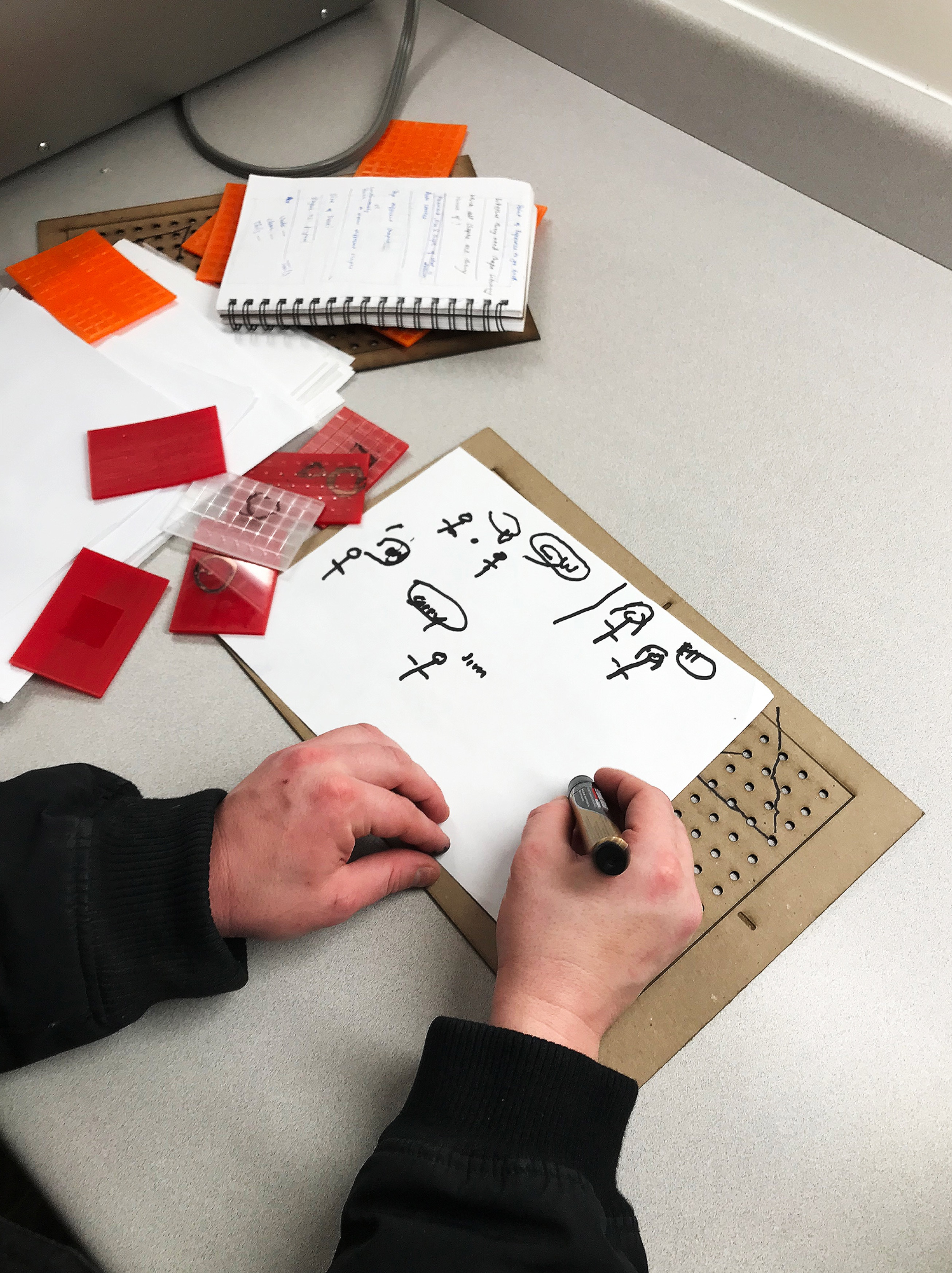 Contextual Inquiry image showing a participant drawing a stick figure with a pen to convey an idea.