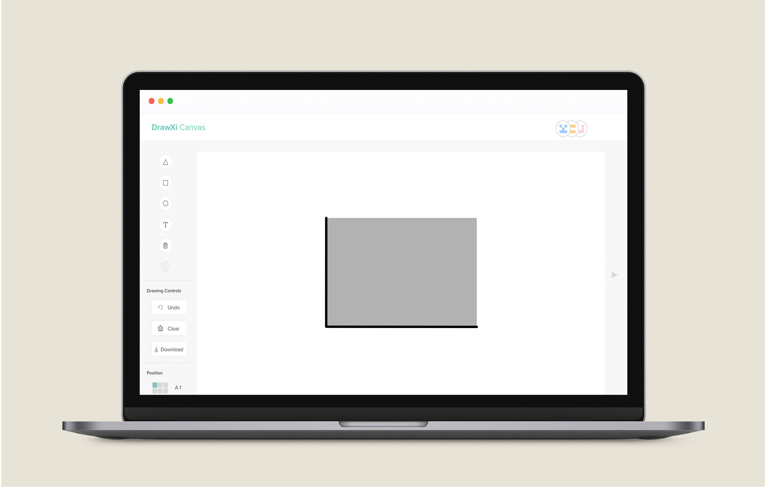 Image showing rectangle being drawn on Drawxi canvas after user has drawn a reactangle on Drawxi Board.