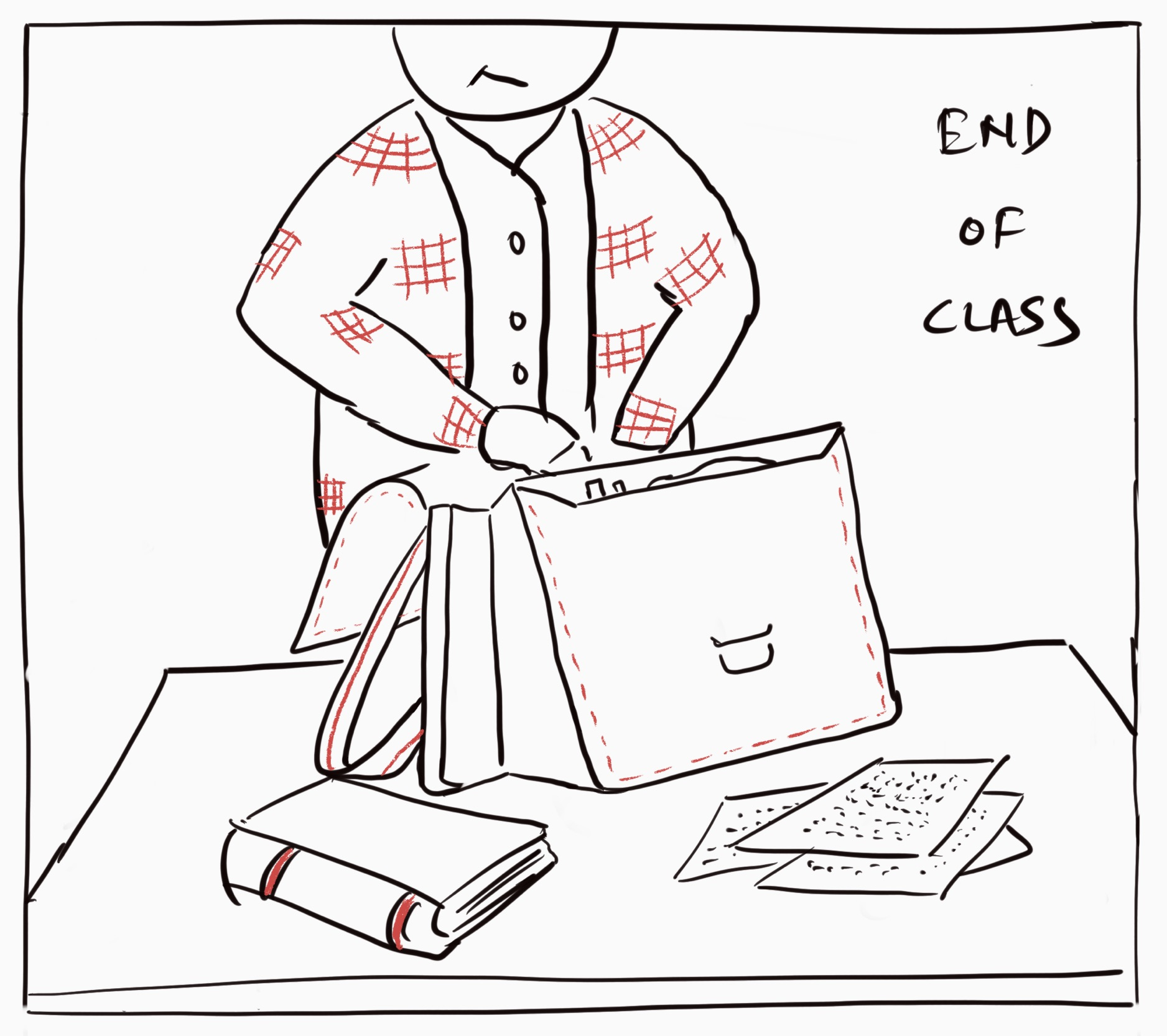 In this image Alan is hurriedly packing his stuff to switch classrooms.