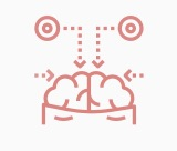 Icon of multiple senses sending messages to the brain.