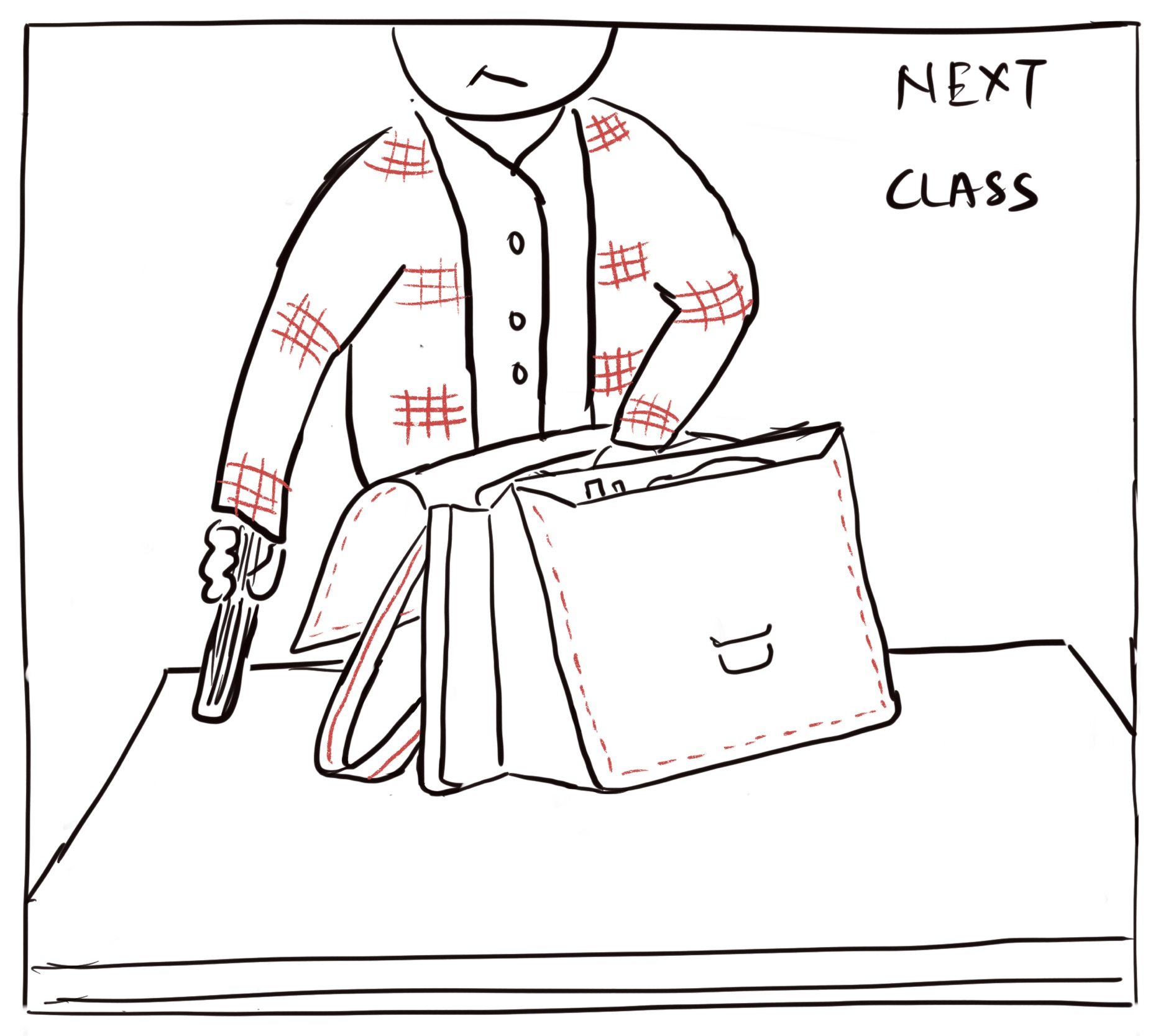 In this image, Alan is unpacking his bag to get ready for the next class.