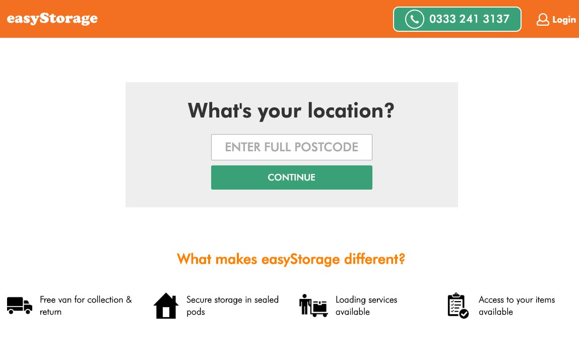 Booking online with easyStorage self storage