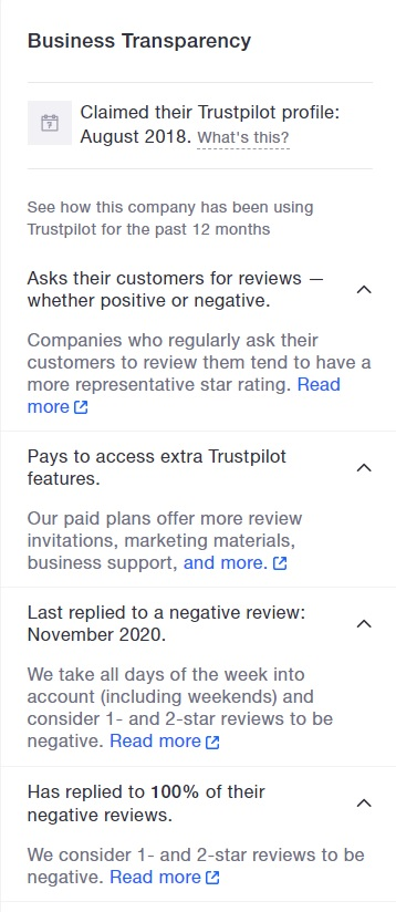 Graphic showing transparency on TrustPIlot