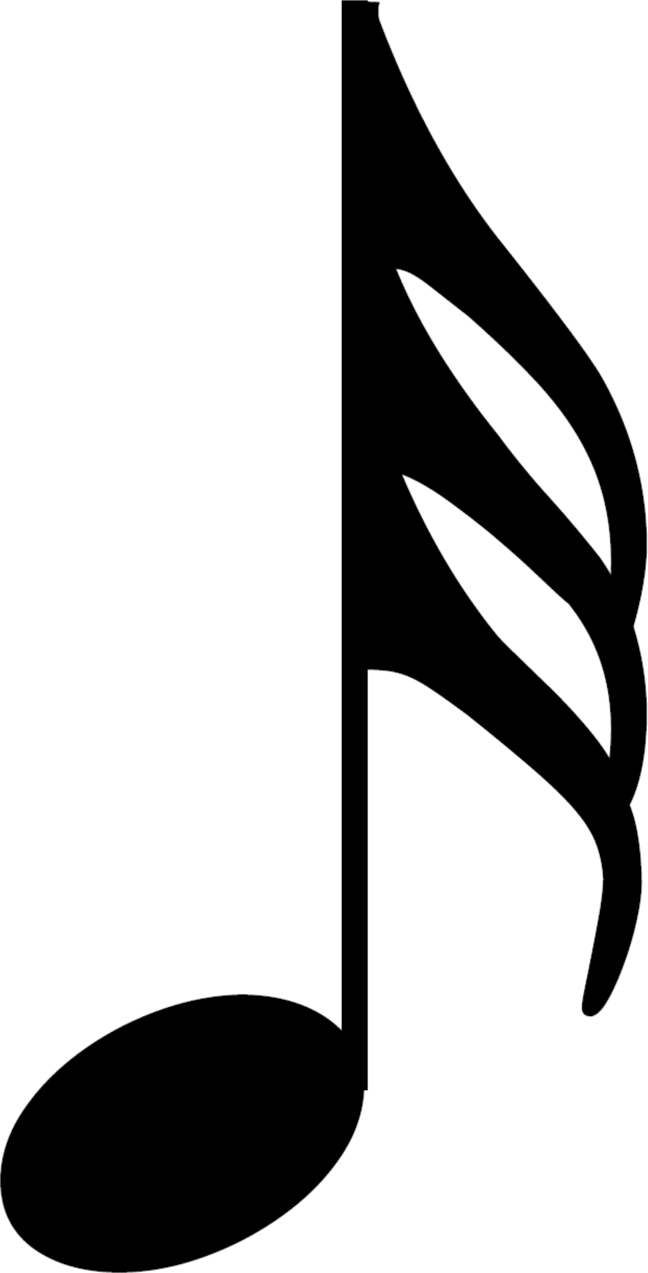 An HD thirty second note, also called a demisemiquaver; a musical symbol and musical note value.
