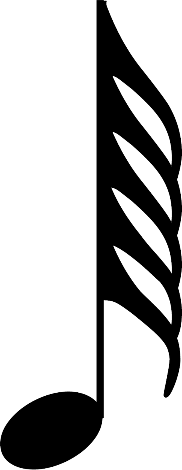 An HD one hundred and twenty eighth note, also called a semihemidemisemiquaver; a musical symbol and musical note value.