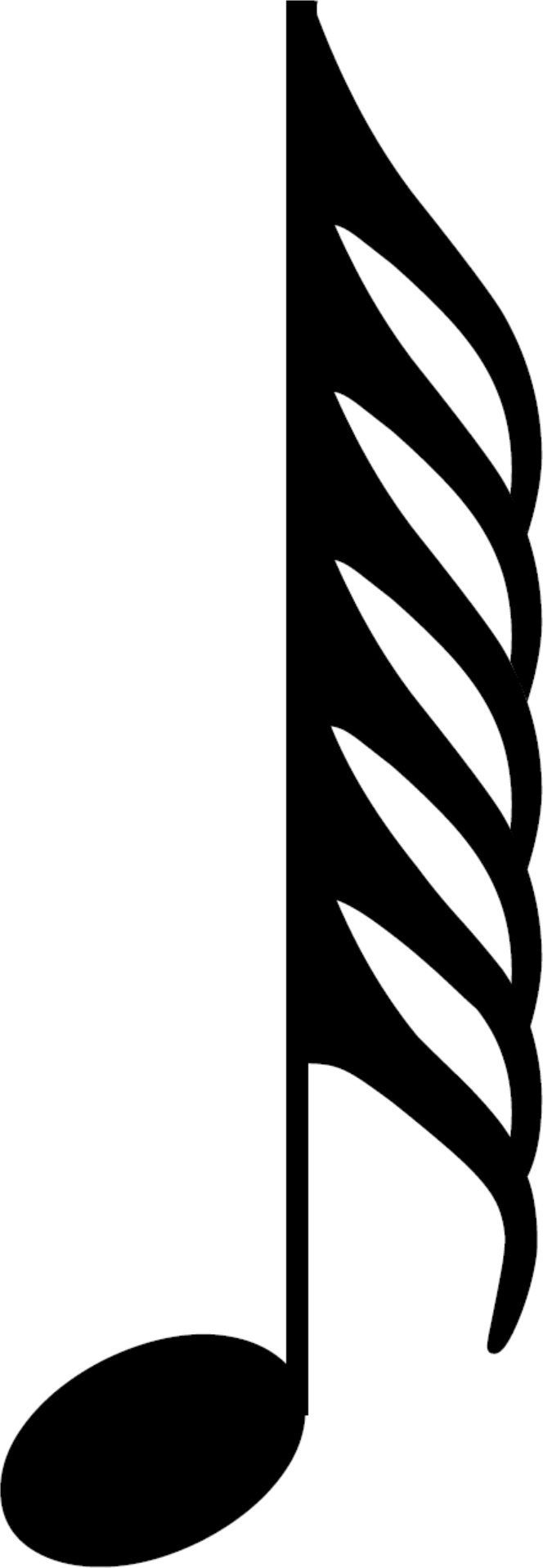 An HD two hundred and fifty sixth note, also called a demisemihemidemisemiquaver; a musical symbol and musical note value.