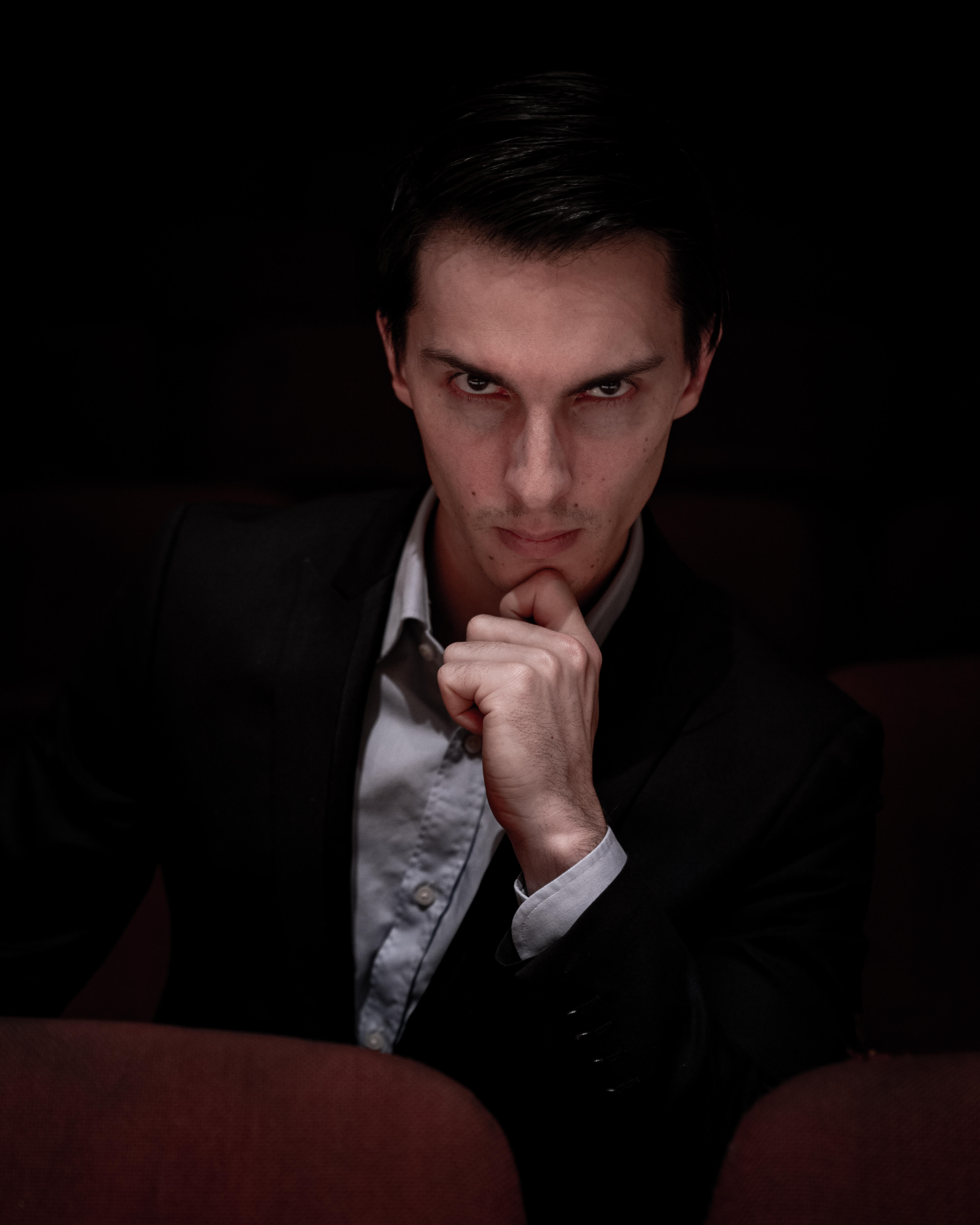 A provocative photo portrait of composer and music teacher Liam Pitcher.