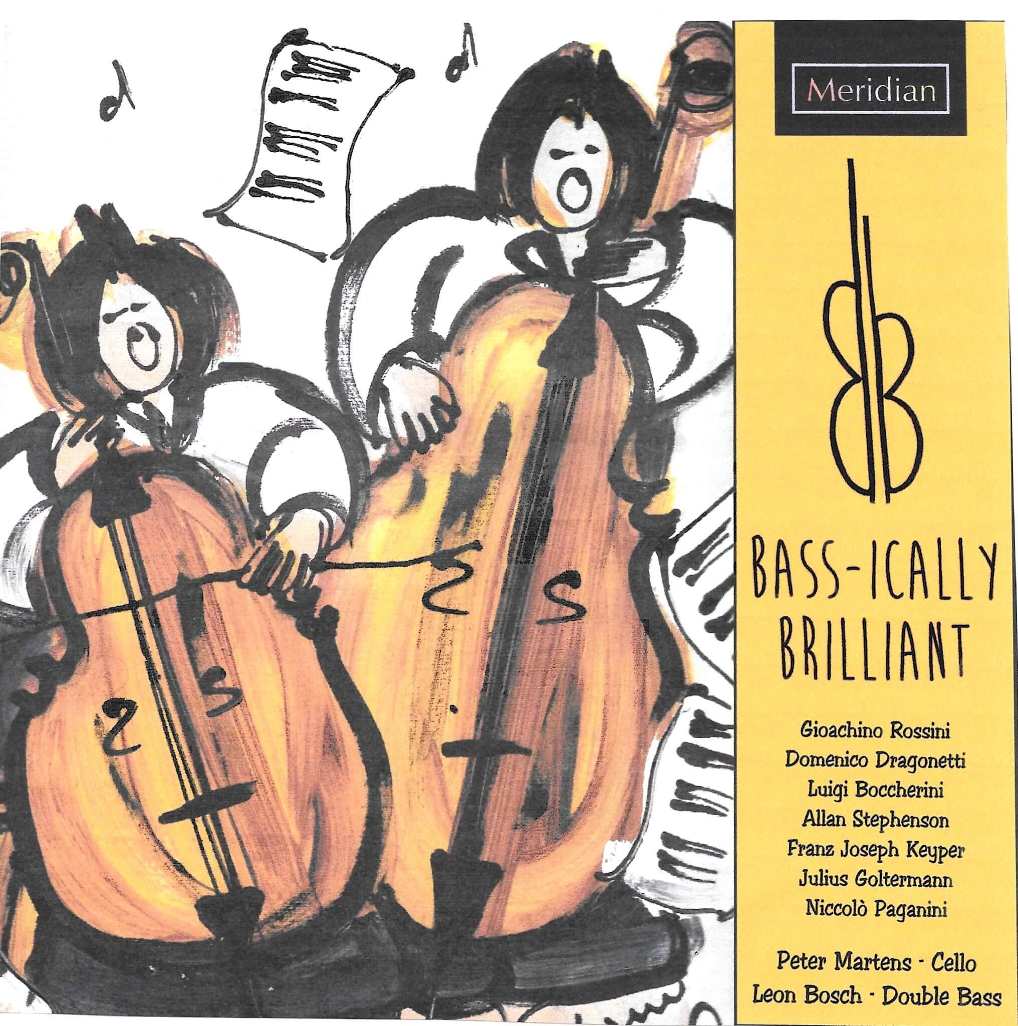 The album art of Leon Bosch & Peter Martens' album titled 'Bass-ically Brilliant'
