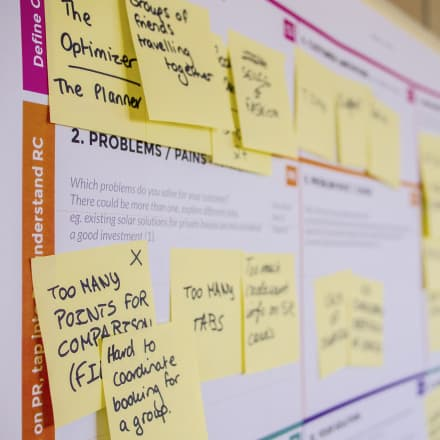 business canvas with post it notes