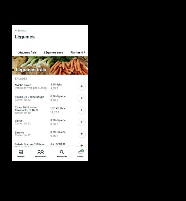Interface de commandes parmi 300 références locales