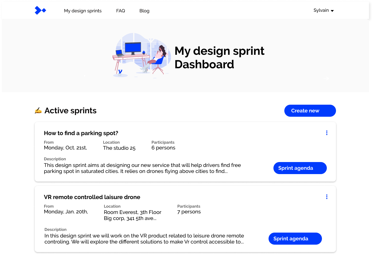 MyDesignSprint - dashboard