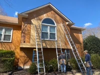 Stucco removal, rot repair