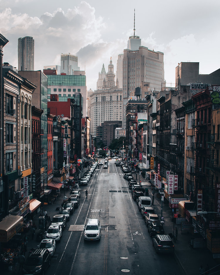 Overlooking Chinatown from Manhattan Bridge in New York City