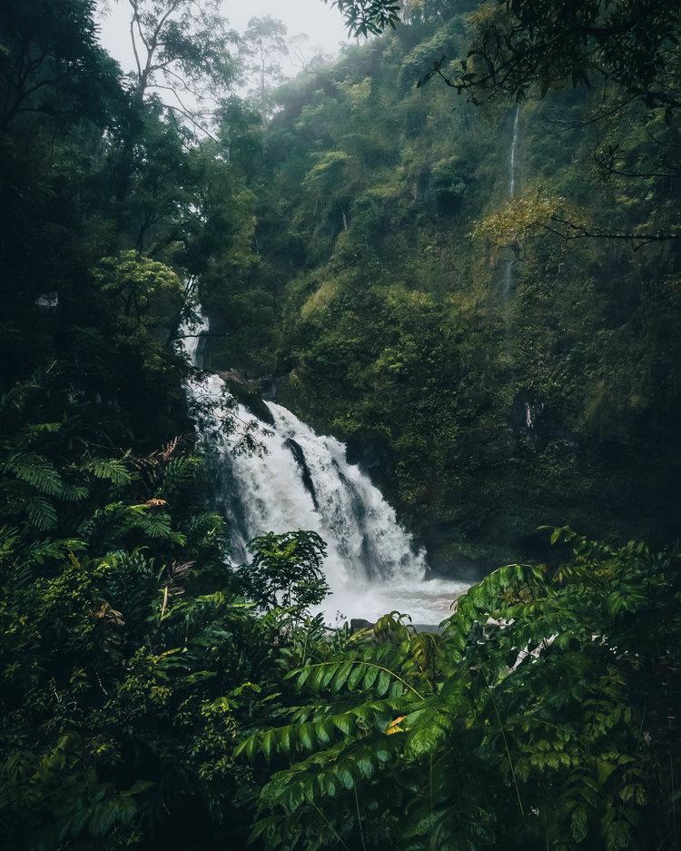 Waterfall on Road to Hana in Maui, Hawaii