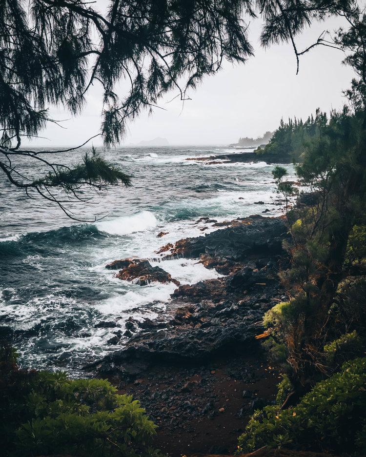 Waves on a beach in Maui
