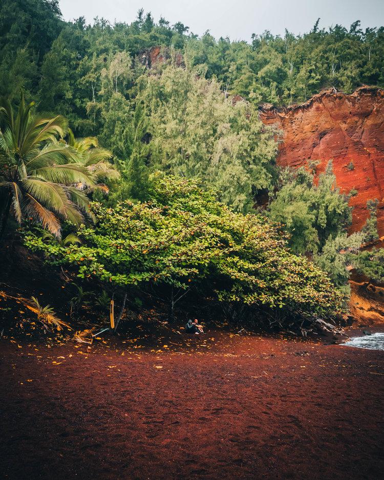 Kaihalulu Red Sand Beach in Maui, Hawaii