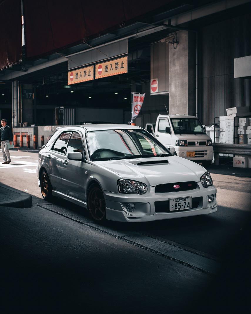 White Subaru WRX in Osaka, Japan