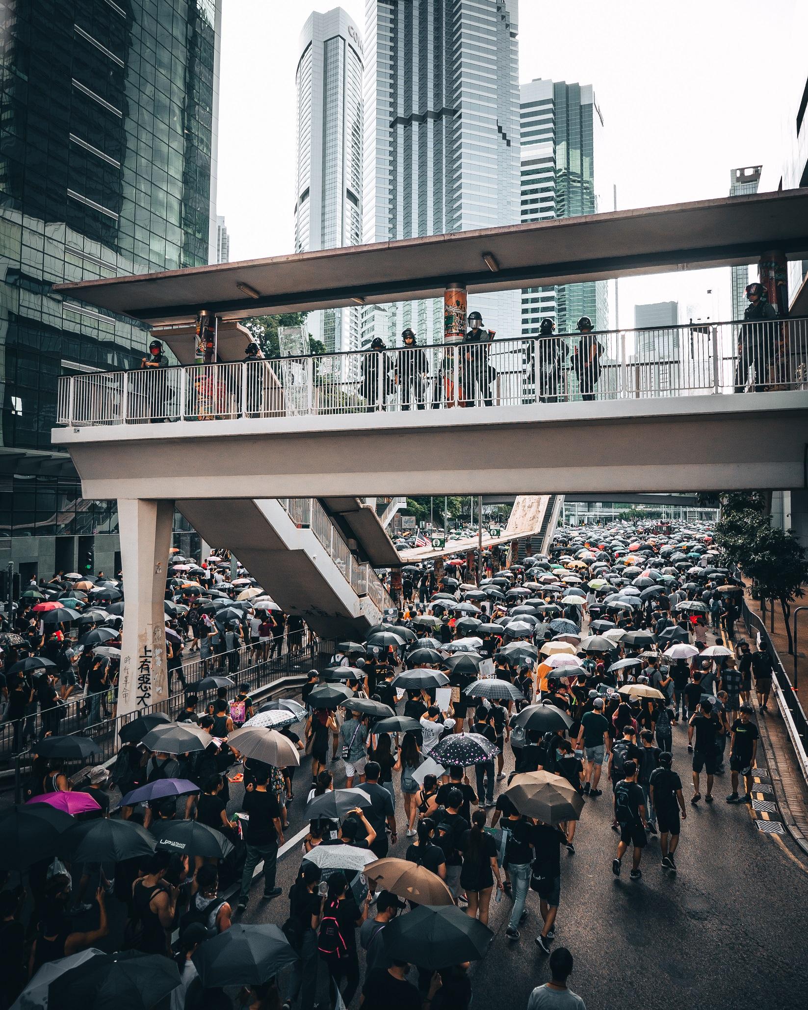 Hong Kong Police Force overlooking protesters in Hong Kong