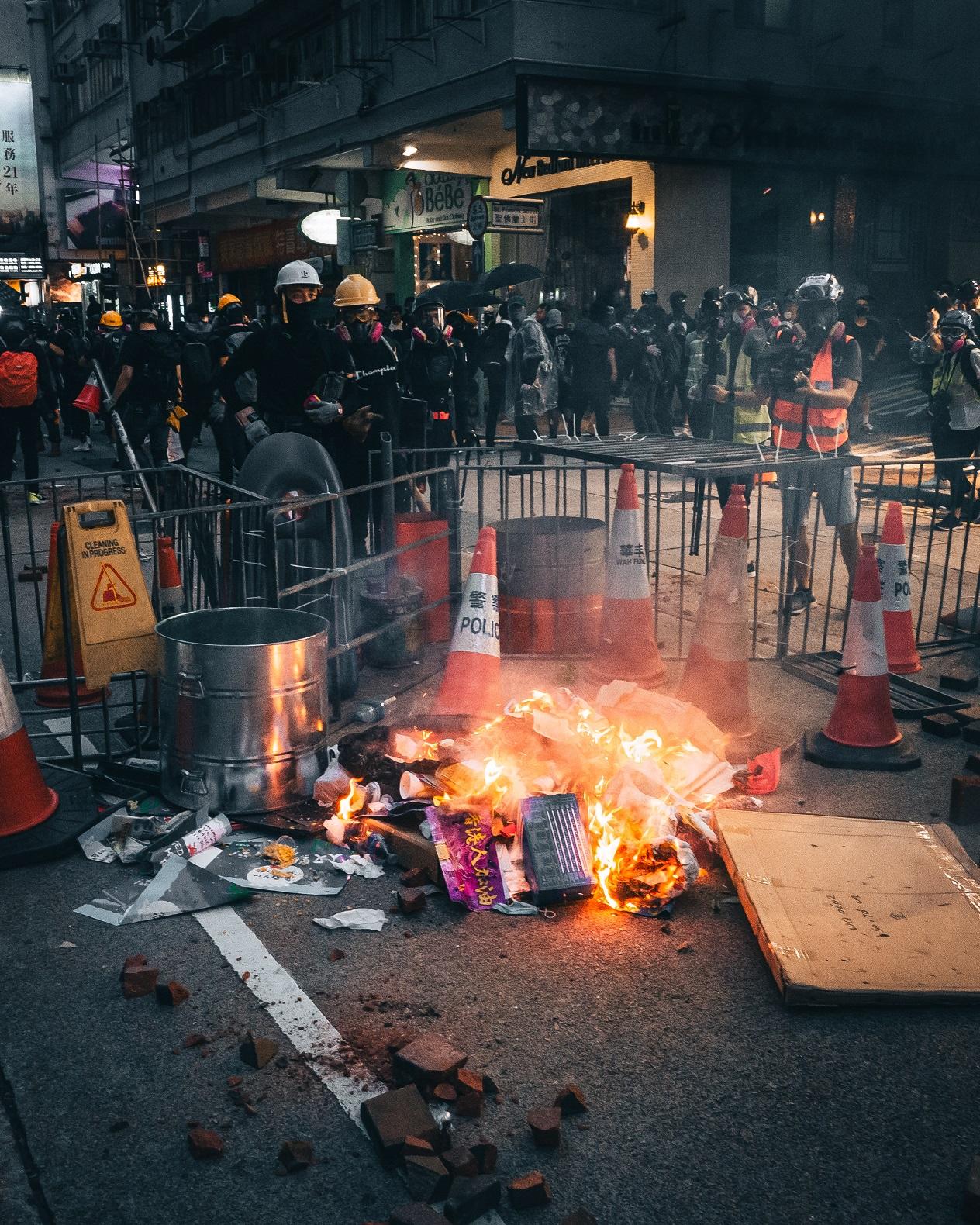 Barricade lit on fire in Hong Kong