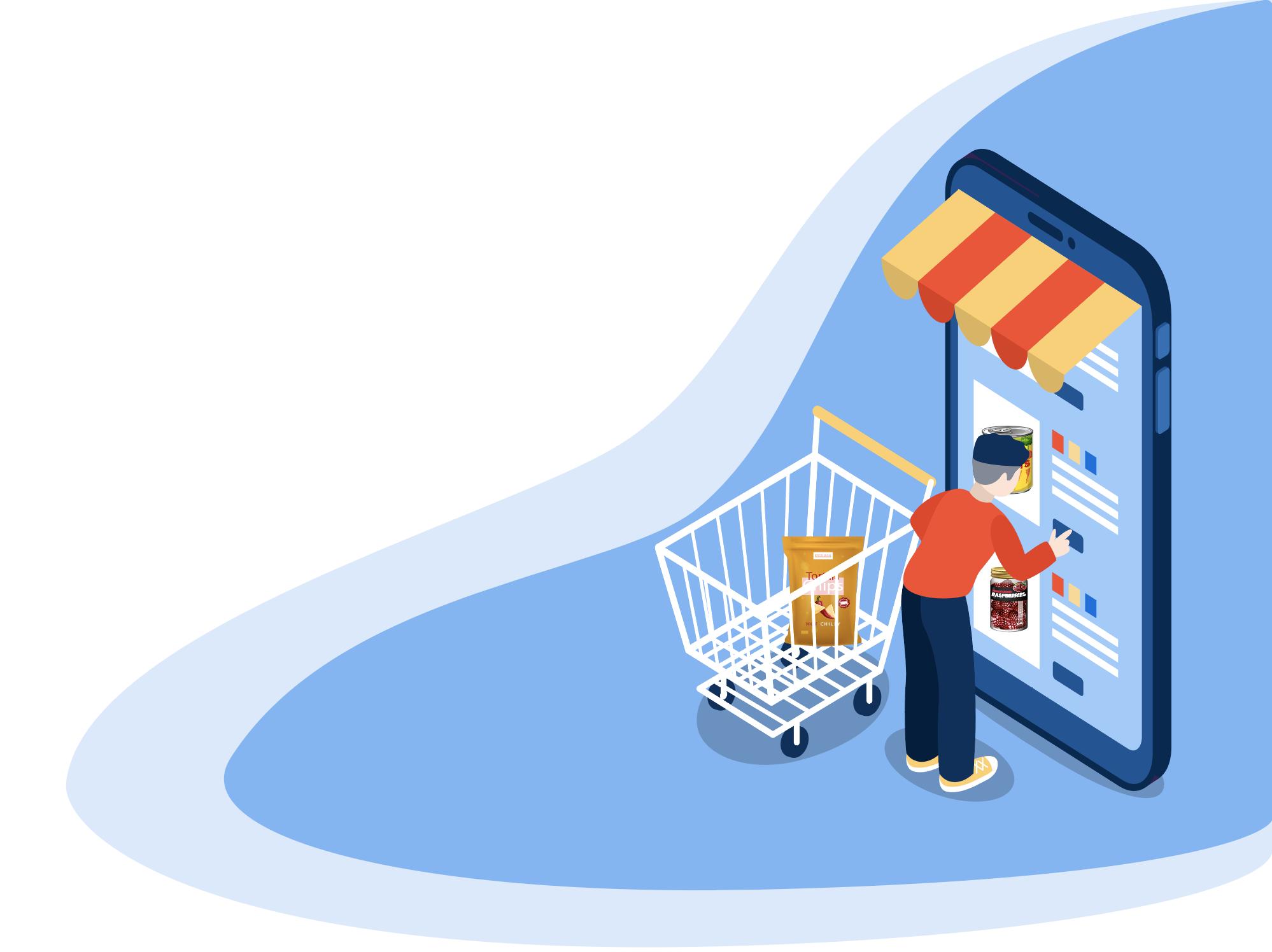 man shopping on a phone