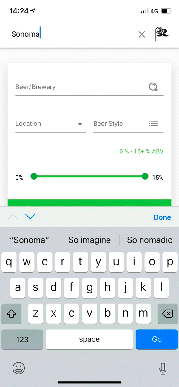 Screenshot Of App - Search Criteria