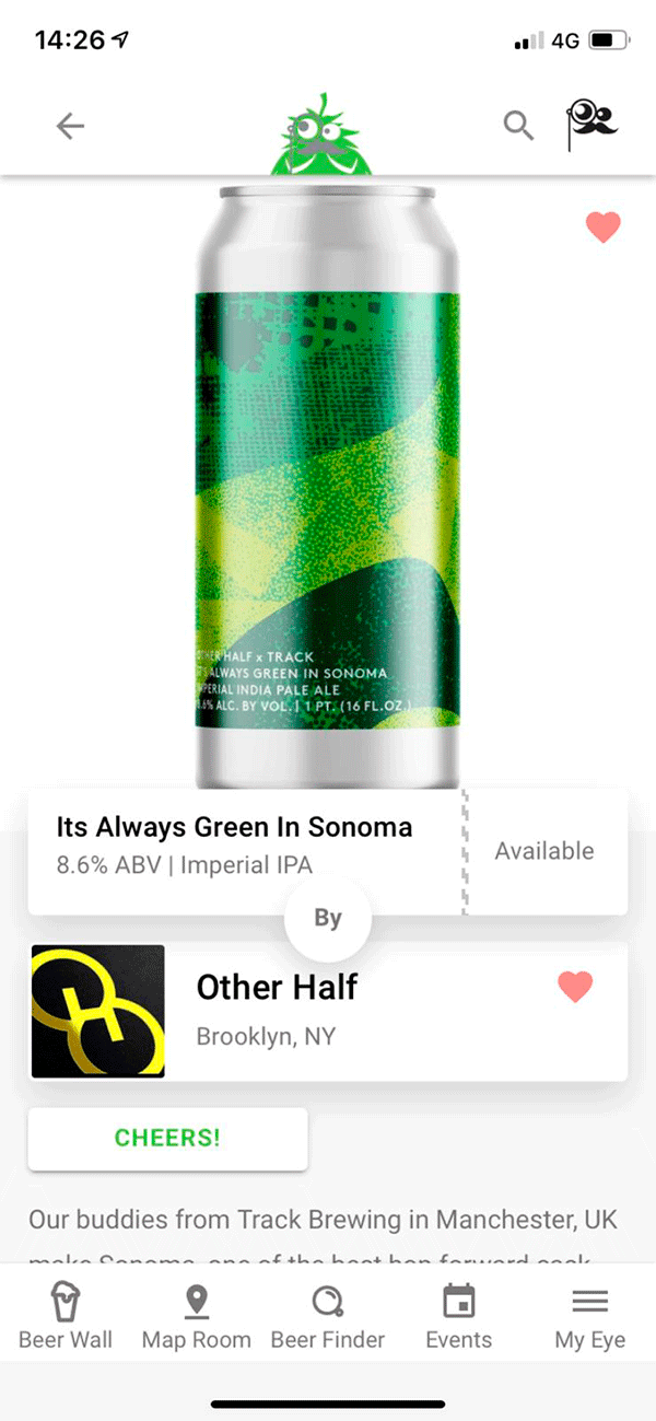 Screenshot Of App - Beer Result Sonoma Can