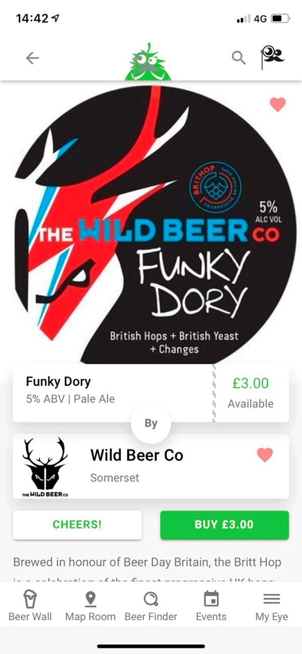 Screenshot Of App - Beer Result - Wild Beer Co