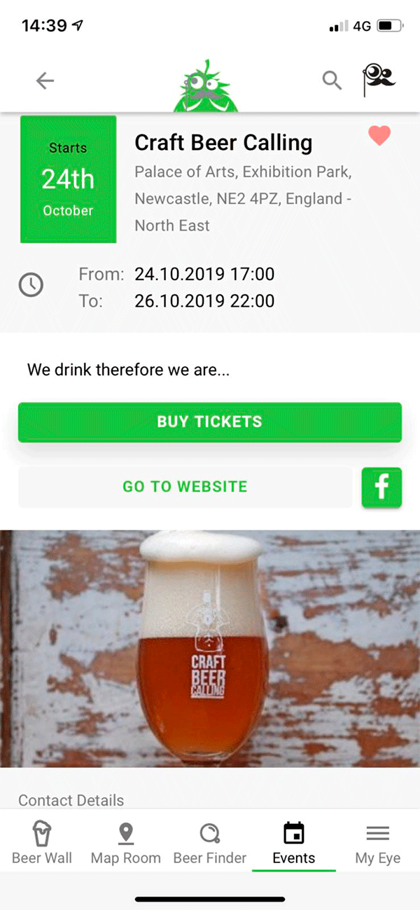 Screenshot Of App - Event - Beer Calling