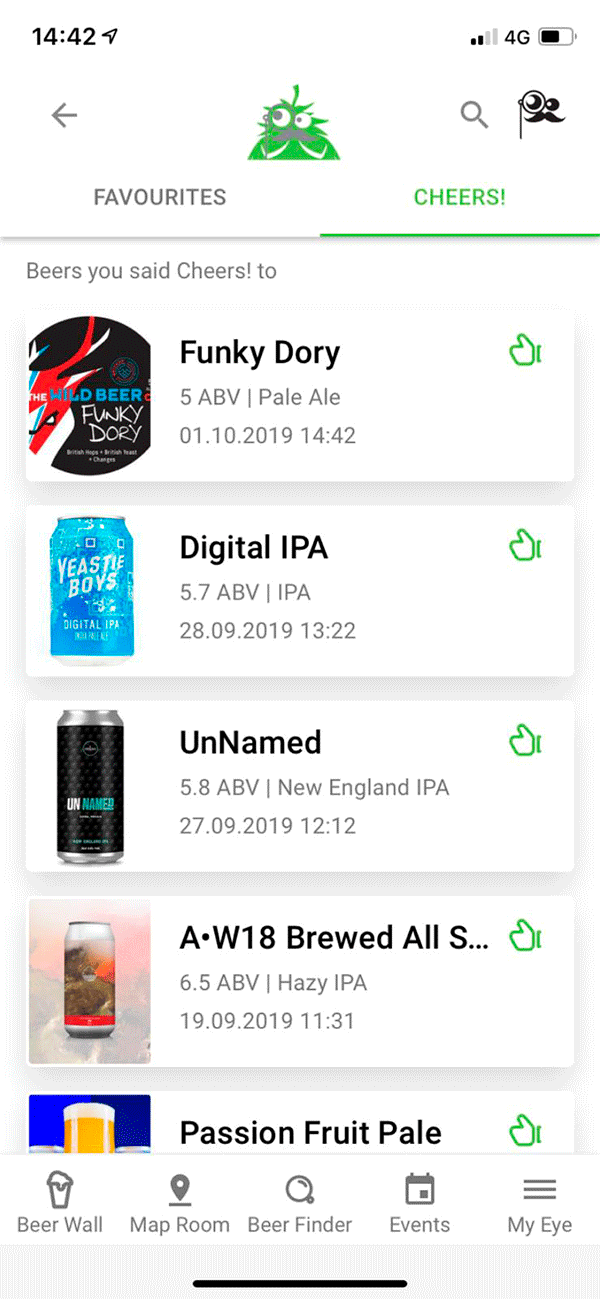 Screenshot Of App - Beer Results