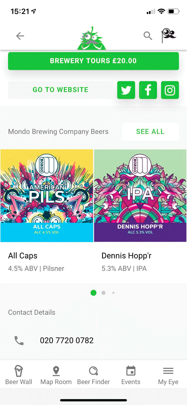 Screenshot Of App - Brewery Mondo Brewery