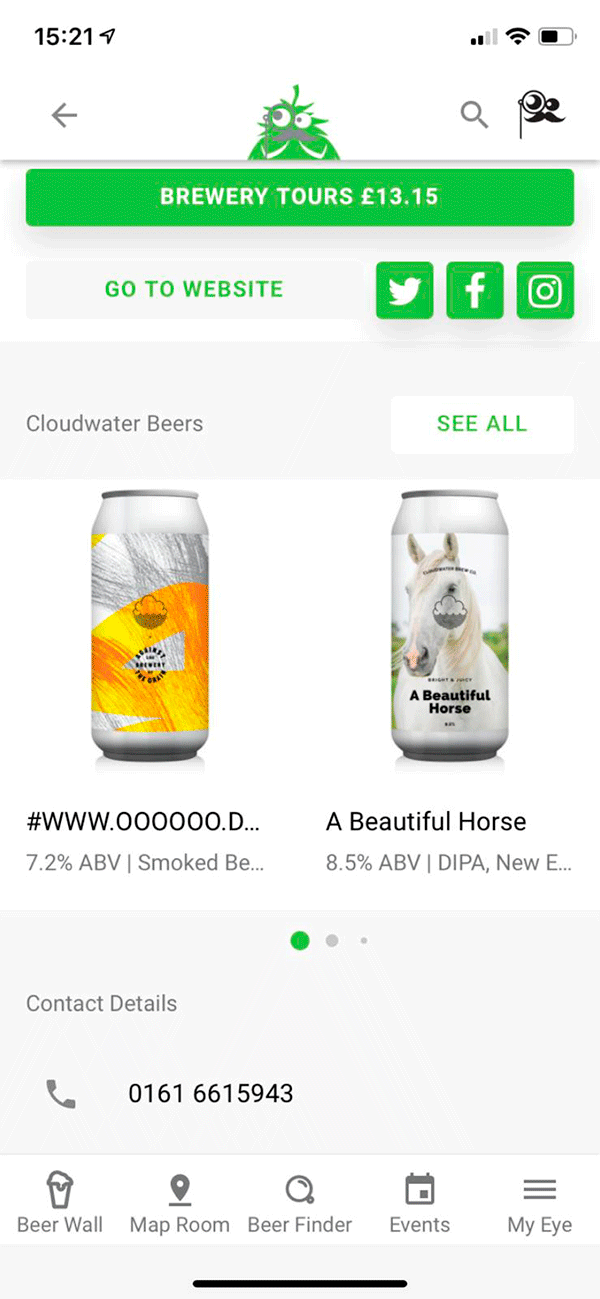 Screenshot Of App - Brewery Cloudwater
