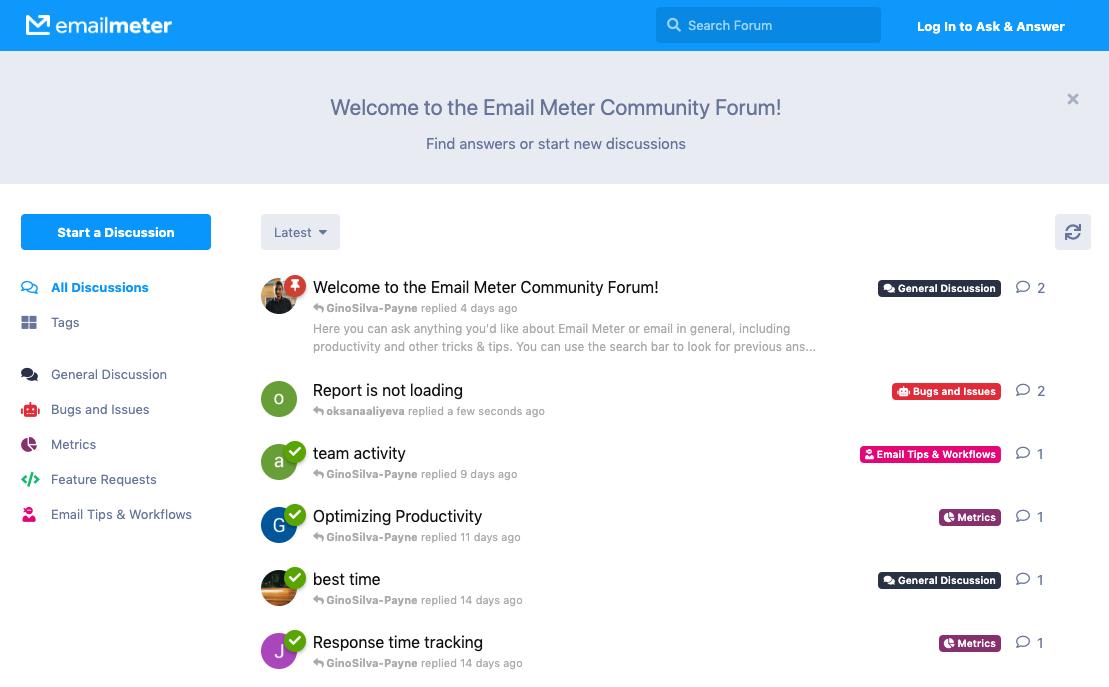 Email Meter Community Forum Homepage