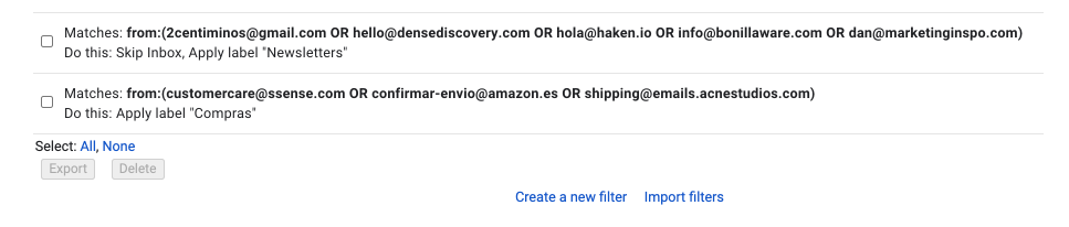 My Gmail filters set-up to avoid a cluttered inbox.