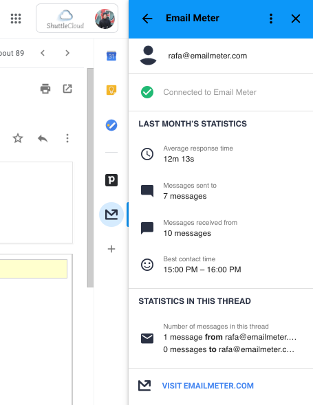 Screenshot of the Email Meter add-on