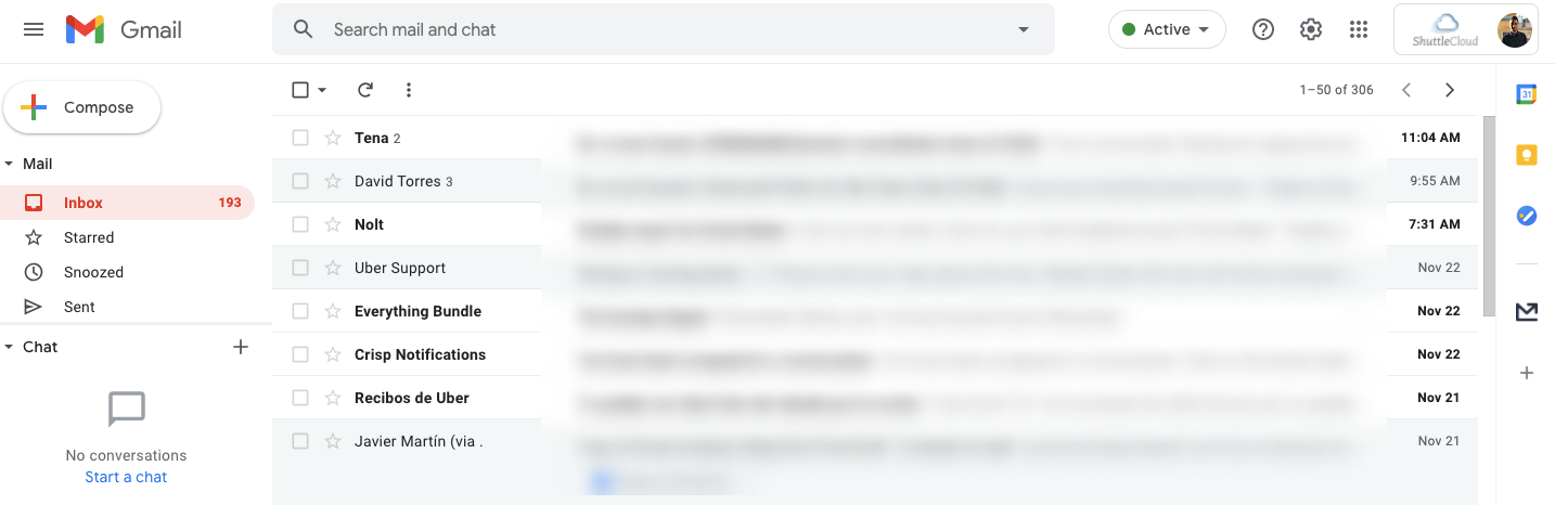 Screenshot of a typical email inbox, Gmail in this case