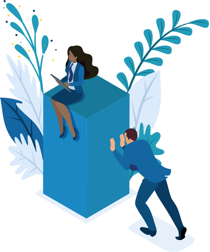 Blauw blok waar vrouw op zit en wordt geduwd door man in blauw pak